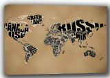 World Map with Country Names Art Canvas. Sizes: A4/A3/A2/A1 (001669)